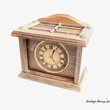 Vintage Coasters, Wood / Brass Box Set of 6, Clock Face
