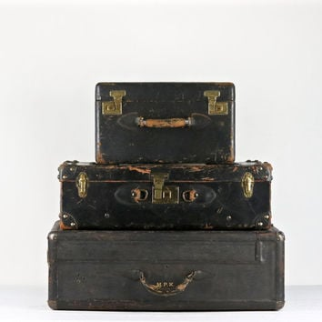 Suitcase Stack, Vintage Suitcases, Black Suitcases, Stack Of Three Suitcases, Old Suitcases, Luggage, Old Luggage