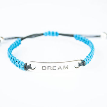 Dream Friendship Bracelet Blue and Black Hemp Inspiration Jewelry Word Bracelet