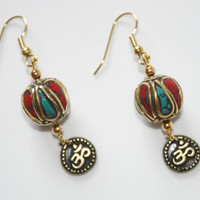 Earrings, Om Charm, Tibetan Bead, Gold, Red, French Wire, Fashion Jewelry, Yoga, Hippie, READY TO SHIP