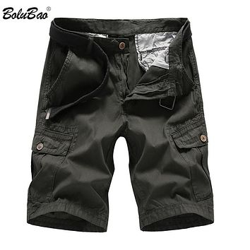 New Men Cargo Shorts Casual Loose Short Pants Solid Military Summer Style Knee Length Shorts Men