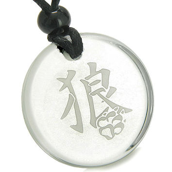 Amulet Magic Kanji Wolf Paw Courage and Crystal Quartz Pendant Necklace