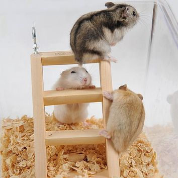 1pc 15*7*2cm Small Animal Cage Health Toy Hamster Rabbit Hanging Ladder with Hook Rat Mouse Gerbil Wooden Climbing Playing Toys