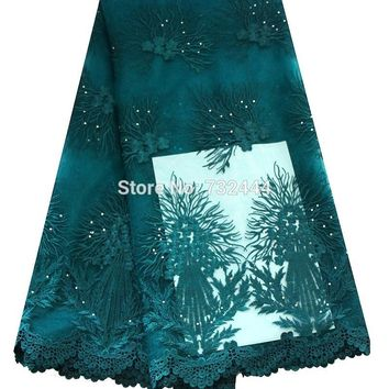 Unique tulle net lace fabric with rhinestones elegant african french lace 5 yd lots