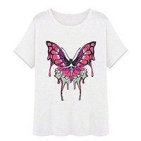 MapleClan Embroidered Butterfly Short Sleeve Loose Summer T-Shirt