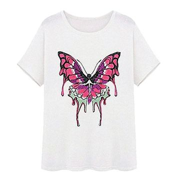 Embroidered Butterfly Short Sleeve Loose Summer T-Shirt