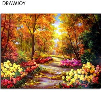 DRAWJOY Framed Pictures Painting & Calligraphy DIY Acrylic Painting By Numbers Flower Picture Wall Art  Home Decor GX9288