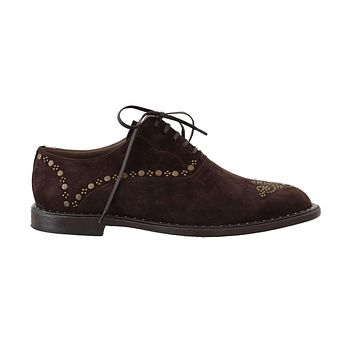 Brown Leather Wingtip Studded Derby Shoes