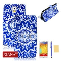 Galaxy Note 3 Case(RC), XIANA Fashional Protector Printing Picture Series Premium PU Leather Wallet Case Built-in Card Slots Shell Cover Suitable For Samsung Galaxy Note 3 N9000, with Stylus, Screen Protector and Cleaning Cloth