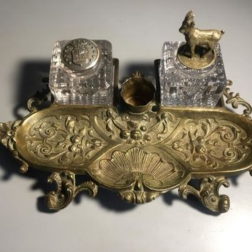 Victorian era Gilted Bronze Art Nouveau Inkwell with Ram Topper and candle holder