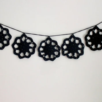 "50"" Crochet Doily Garland, Boho Garland, Black Decor, Boho Wedding, Home Decor, Dorm Decor, Gifts for Her, Wedding Garland"