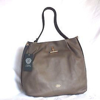 NWT Vince Camuto Tina Tote Chocolate Chip Black Pebble Leather