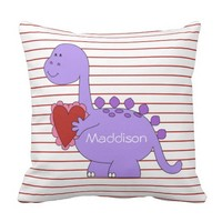 Purple Dinosaur on Red Pinstripes, with Name Throw Pillow
