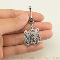 Tiger Belly Button jewelry,tiger Navel Jewelry,lucky belly button ring,friendship gift,summer jewelry,steampunk