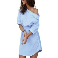 Summer Women Dress Blue Striped Shirt Short Dress Mini Sexy Side Split Half Sleeve Beach Dresses Plus Size Sundress 3xl designer clothes