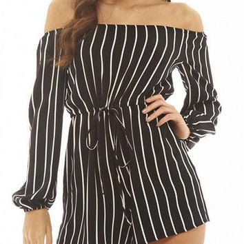 Black and White Striped Long Sleeve Off Shoulder Rompers