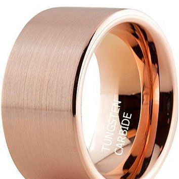 12mm Tungsten Wedding Band Ring Comfort Fit Rose Gold Plated Plated Pipe Cut Flat Brushed Polished (14k, 18k Rose Gold)