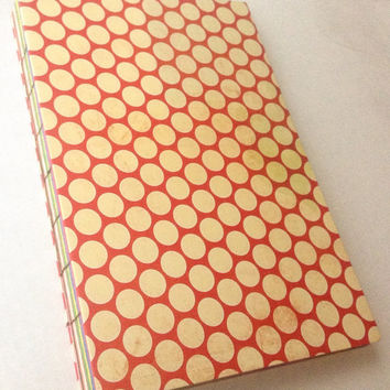 Red with white polka dots pattern journal 80 multicolored pages 6X9