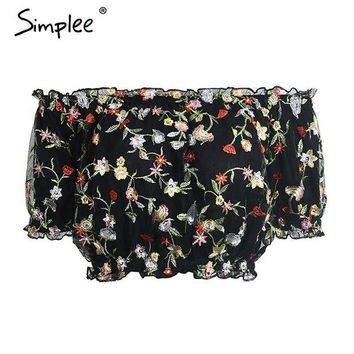 DCCKWQA Simplee Off shoulder floral lace blouse shirt Sexy lining mesh crop top women blouses summer beach embroidery blusas 2017 new
