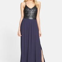 ASTR Sequin Bodice Cutout Back Maxi Dress | Nordstrom