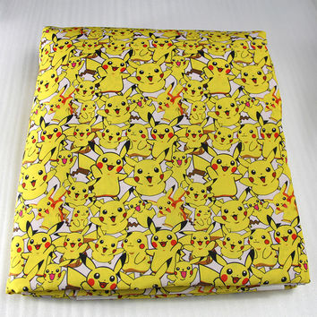42770 50*147cm cartoon Pikachu Pokemon fabric patchwork printed cotton fabric for Tissue Kids Bedding textile,Sewing Tilda Doll