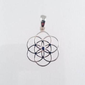 Sacred Geometry, Seed of Life Pendant with Blue Sapphire set in Sterling Silver