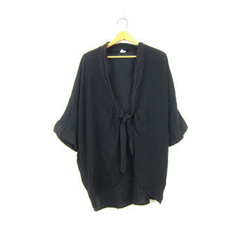 Sheer Black Blouse Oversized Tie front Layering Shirt Dress Up Vintage Minimal Overshirt Cotton Layer Top Cardigan Shrug Womens size Medium
