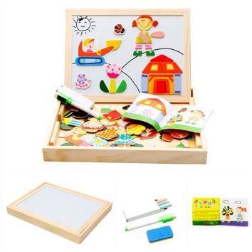 Cartoon Figures Wooden Magnetic Puzzle Toys for Children Kids Jigsaw Baby Drawing Easel Board fidget cube Educational toy LF014