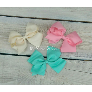 Girls Hair Bows, Baby Hair Bow,Big Hair Bows,Large Oversized Grosgrain Boutique Bow,Classic Baby Girl Toddler Bow Pink Aqua Cream Posh Trio