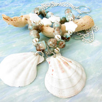 Seashell Curtain Tiebacks, Beach Decor, Nautical Decor, Shell Drapery Tiebacks, Shabby Chic Decor, Shell Curtain Tie Backs, Shell Decor