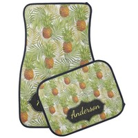 Tropical Pineapple Patterned Personalized Car Mat