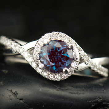 Kara Beth - Alexandrite, Diamond, and White Gold Twist Engagement Ring