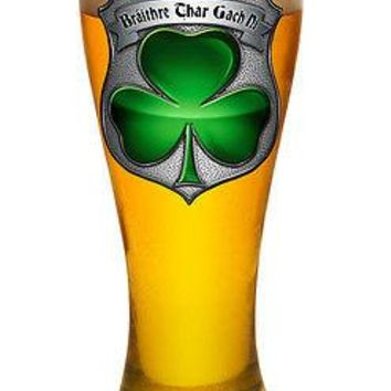 IRISH HERITAGE POLICEMAN'S  BROTHERHOOD WITH CLOVER-  LARGE  PILSNER BEER GLASS