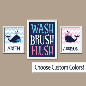 WHALE Bathroom Wall Art Mustache Bow Child Brother Sister Kid Name Monogram Navy Blue Pink WASH Brush Chevron Set of 3 Prints Bath Decor