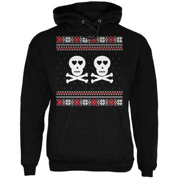 DCCKU3R Skull and Crossbones Lovers Ugly Christmas Sweater Black Adult Pullover Hoodie