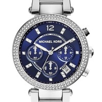 Women's Michael Kors 'Parker' Chronograph Bracelet Watch, 39mm - Silver/ Navy
