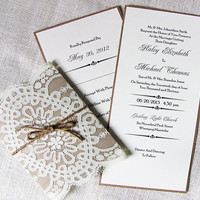 Rustic Country Shabby Chic Lace and Burlap Twine Wedding Invitation Deposit Listing