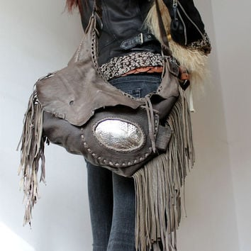 Southwestern western beige khaki leather purse fringed bag unique artisan tribal bag boho bohemian gypsy silver morrocan detail sweet smoke