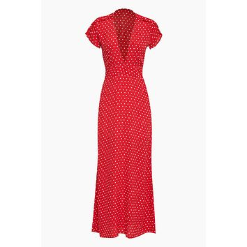 Valentina Short Sleeve Maxi Dress - Red Cherry Dots Print