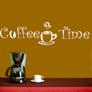 Vinyl Decals  Coffee Time Cup Beans Quote Home Wall  Decor Removable Sticker Mural L522  Unique Design Kitchen Cafe  Shop