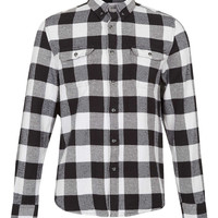 Monochrome Buffalo Check Long Sleeve Flannel Shirt - TOPMAN USA
