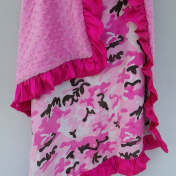 ON SALE Camouflage Fuchsia Pink Minky Baby Blanket.....other sizes available, personalized