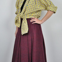 Vintage Womens Aquascutum Flared Pleat Plaid Tartan Check Skirt Red Midi 16 Grunge 90s 80s