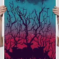 Deer Forest 18x24 Art Print