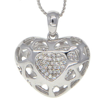 Dear Deer White Gold Plated Pave CZ Heart Locket Pendant Necklace
