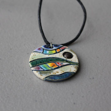 Unique handmade ceramic necklace