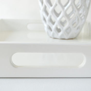 White Lacquered 14 x 18 Serving Tray, Coffee Table Tray, White Home Decor, Ottoman Tray