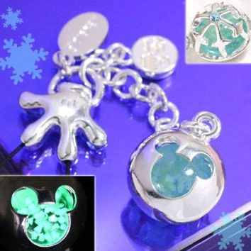 Mickey Mouse Shaped Chura Stone Glow-in-the-dark Handmade Jewelry Cell Phone Strap Japanese Cell Phone Charm Strap (Ash)- 188-621485