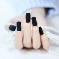 Matte Black Flat Fake Nails 24Pcs Golden Edge False Nail Square Full Designed Nails with Glue Sticker for Ladies Z445