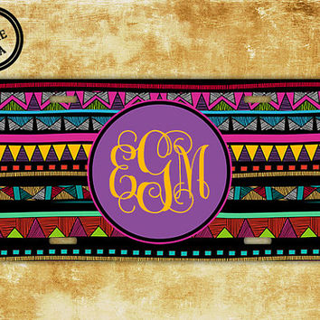 Monogrammed Aztec license plate - Tribal pattern with purple - car tag aztec, tribal license plate, vanity car plate license (9888)